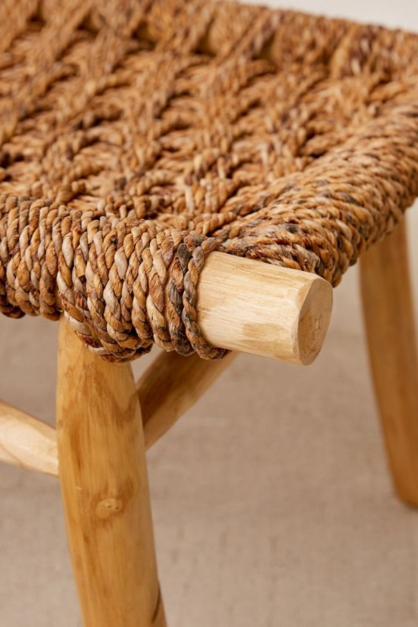 Natural Woven Jute Rope Outdoor Garden Bench Doxey